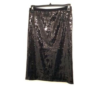 Vince Camuto Rich Black Sequin Skirt